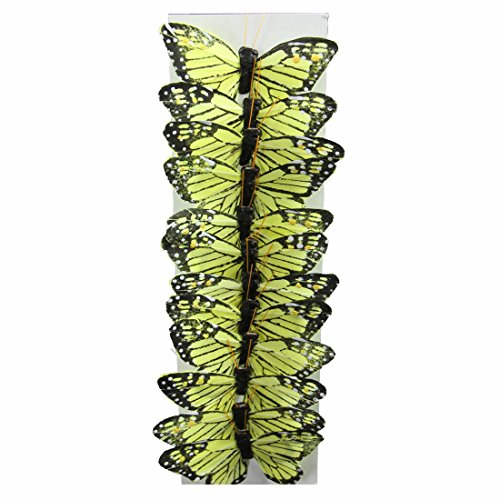 "Shinoda Design Center 0165500240 3"" Yellow Faux Monarch Butterfly Set, 12 Piece"