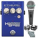 TC-Helicon Harmony Singer 2 Vocal Processor and Harmony, Reverb, & Tone Floor Pedal and Accessory Bundle w/ Samson Q6 Mic + Xpix Cable + Fibertique Cloth