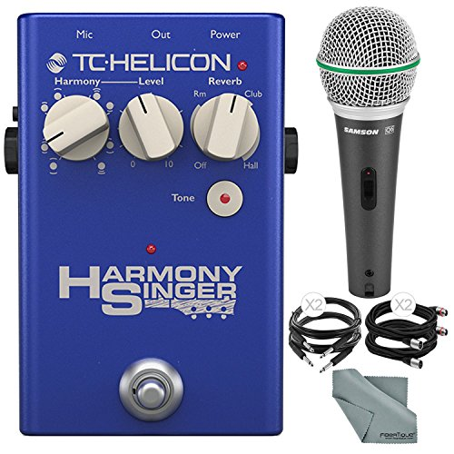 Portable Guitar Effects Processor (TC-Helicon Harmony Singer 2 Vocal Processor and Harmony, Reverb, & Tone Floor Pedal and Accessory Bundle w/ Samson Q6 Mic + Xpix Cable + Fibertique Cloth)