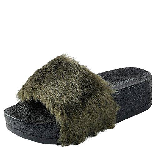 Voor Altijd Link Womens Open Teen Faux Fur Slide Platform Wedge Med Lage Hak Slipper Sandaal Schoenen Olijf