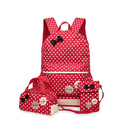 Urmiss 3 Pcs Cute Dot Bow Bowknot Primary School Student Bag Princess Backpack Children Shoulder Bag With Tote and Phone - Sunglasses Three Dots