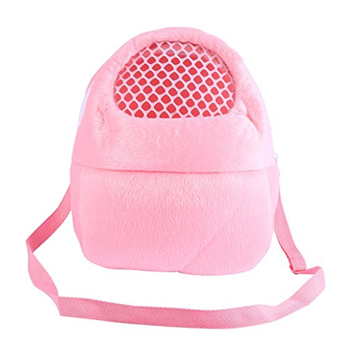 Pet Carrier Bags Hamster Rat Hedgehog Rabbit Sleeping Bag Breathable Portable Outgoing Travel Handbags Backpack with Shoulder Strap (Color : Pink)