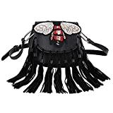 MUSAA PU Leather Shoulder Bag Totes Cross-Body With Punk Style and Tassel Purse For Women,Gift-Worthy Totes (Black,Bee)