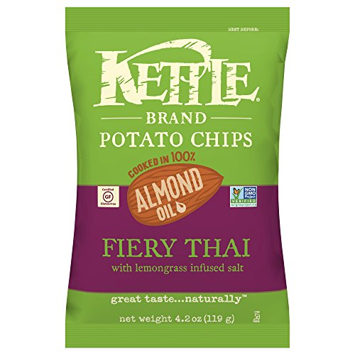 Kettle Brand Potato Chips, Almond Oil Fiery Thai, 4.2 Ounce (Pack of - No Gingers Soles Have