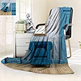 vanfan All-Season Super Soft Blanket Empty Room Two Doors Armchair Simple Mirror Golden Color Frame,Silky Soft,Anti-Static,2 Ply Thick Blanket. (90''x108'')
