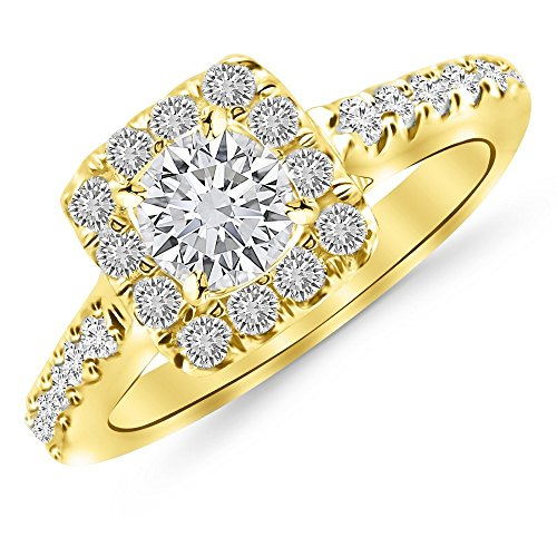 2.56 Cttw 14K Yellow Gold Round Cut Square Halo Diamond Engagement Ring with a 2 Carat I-J Color SI2-I1 Clarity Center (2ct Cut Diamond Square)