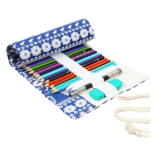 Folding Pencils Organizer Bag, Angelduck Canvas Pencil Case for Artist, Sketchers, Adults and Children Gift (72 slots, Blue)