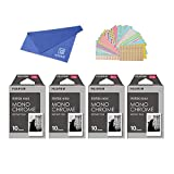 Fujifilm Instax Mini Instant Film Monochrome 4-PACK BUNDLE SET , Mono chrome ( 10 x 4 = 40 ) # 337556 + Original Cleaning Cloth + Stickers 20 pcs. for Mini 90 8 70 7s 50s 25 300 Camera SP-1 Printer