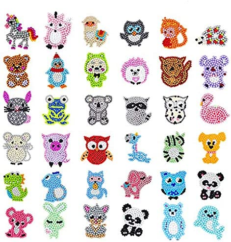 XUANINY 36Pcs 5D Upgrade Patterns Diamond Painting Stickers Kits for Kids, Creative DIY Art Craft Cute Animals Painting with Diamonds, Paint by means of Numbers Diamonds for Children Adult Beginners