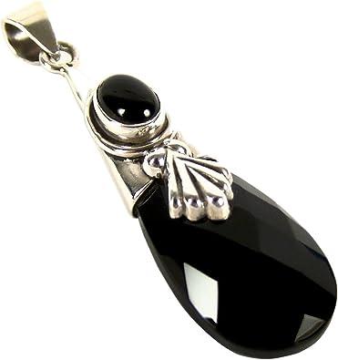 Unique exklusiver Jugendstil Ketten Anhänger schwarzer Onyx Tropfen eingefasst in 925 Sterling Silber 15.6 Karat in Juweliers Qualität