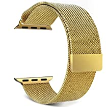 SSStars Milanese Magnetic Loop Stainless Steel Smart Watch Strap with Magnet Lock, Gold-42mm