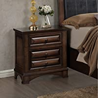 Roundhill Furniture B179N Broval 179 Light Espresso Finish Wood 2 Drawers Night Stand, NA