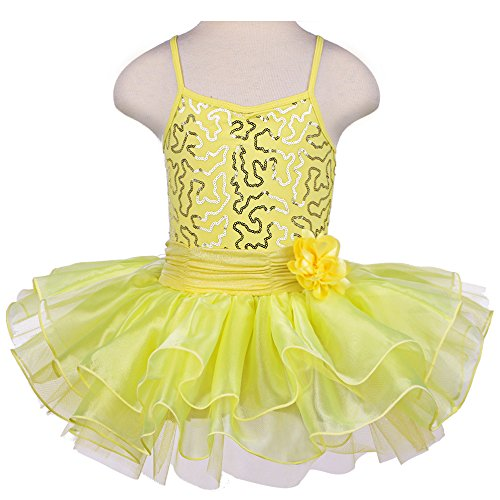 [TFJH Kids Little Girls' Ballet Flower Sequin Sleeveless Leotard Tutu Yellow 3-4 Years] (Figure Skating Halloween Costumes)