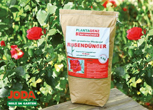 4KG JODA Plantaqenz-Rosendünger 100% granulierter Pferdemist (2,49 €/Kg) Bio ÖKO