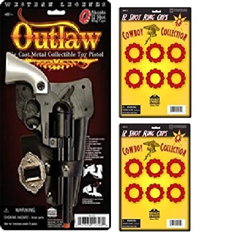 Outlaw Die Cast Metal Toy Pistol with 2 Pack 12 Shot Ring ()