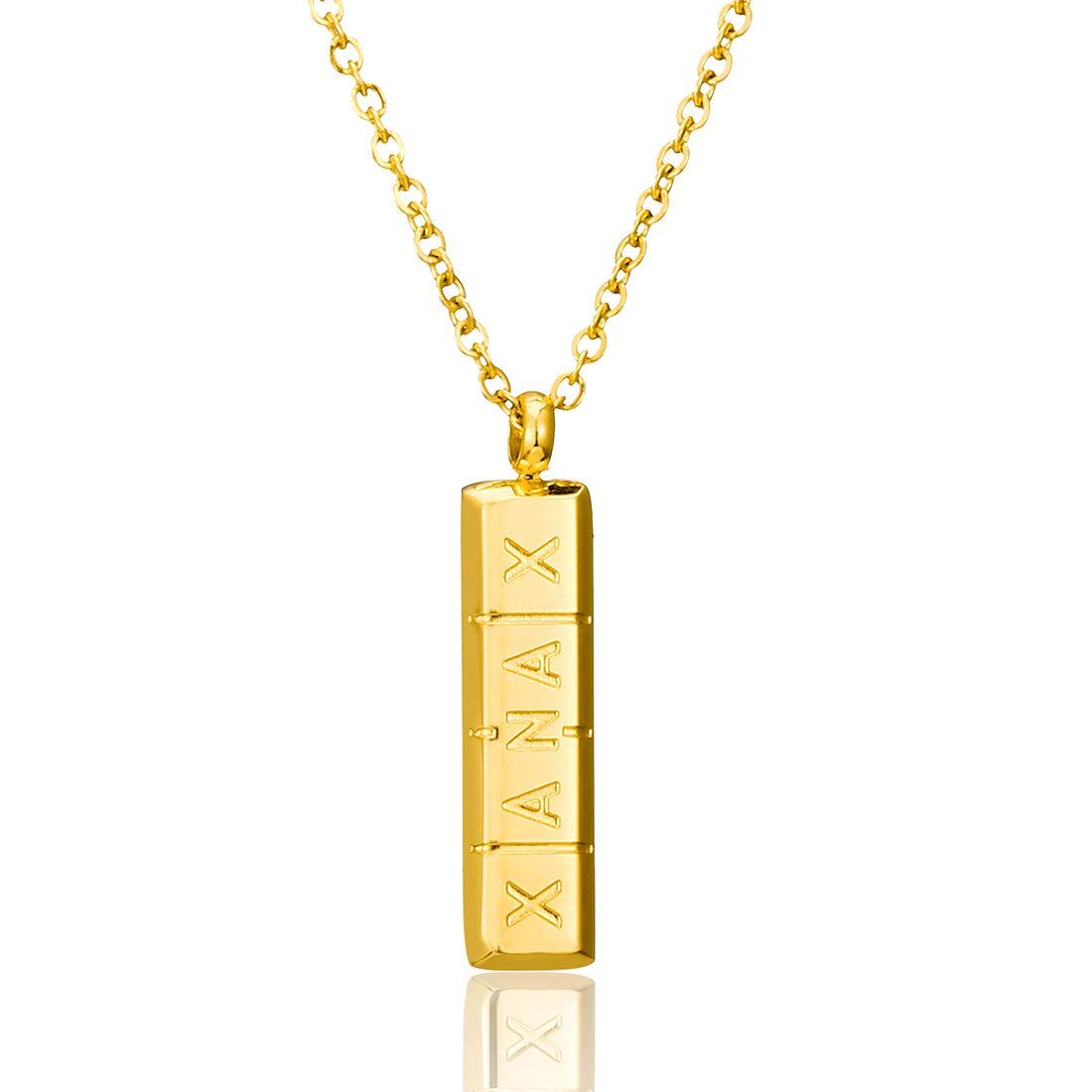 SKQIR Womens Girls Stainless Steel Xanax Pill ID Bar Pendant Necklace Jewelry Yiwu Suqi Jewelry Co. Ltd SKQIR-1704 Silver