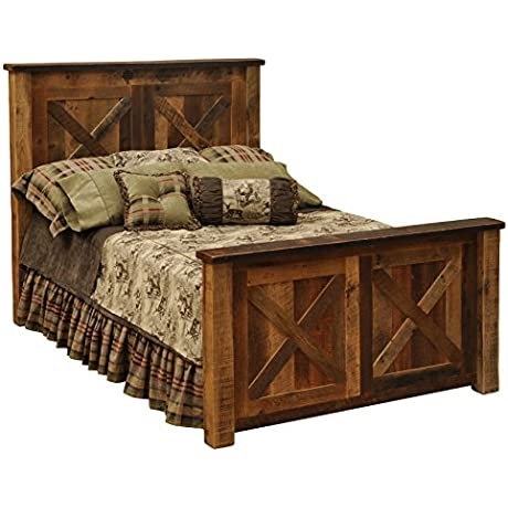 Fireside Lodge Furniture B10011 Barnwood Collection Handcrafted And Lacquer Finished Real Barnwood Style Oak Complete Bed Frame King