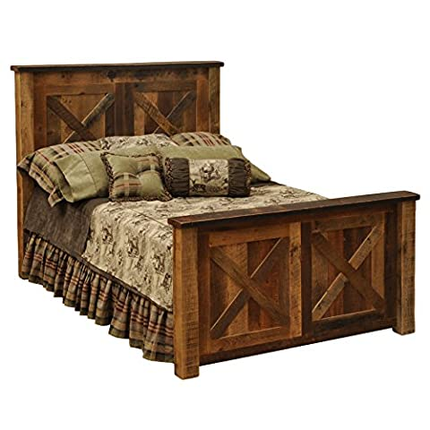 Fireside Lodge Furniture B10101 Barnwood Collection Handcrafted and Lacquer Finished Real Barndoor Style Oak Complete Bed Frame, - Lodge Bedroom Furniture