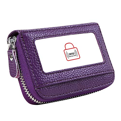 Women's RFID Blocking 12 Slots Credit Card Holder Leather Accordion Wallet,purple