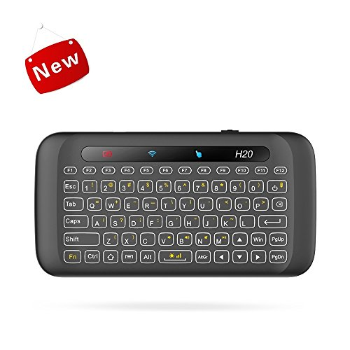 H20 Backlit Mini 2.4Ghz Wireless Handheld Remote Keyboard with Touchpad Mouse Combo Rechargeble Work with USB Receiver for PC,Android Tv Box,HTPC,IPTV,PC,Windows,OS