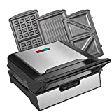 Waffle Maker, Sandwich Maker, 3-in-1 Detachable Non-stick Coating for Individual Waffles, Paninis, Hash browns, other on the go Breakfast, Lunch, or Snacks