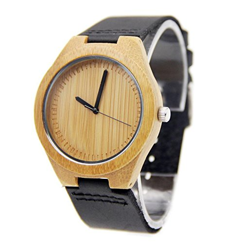 Biao&MZ La nueva madera relojes Unisex / natural madera / bambú / reloj de pulsera / cuero correa / regalo / usable / accesorios , bamboo