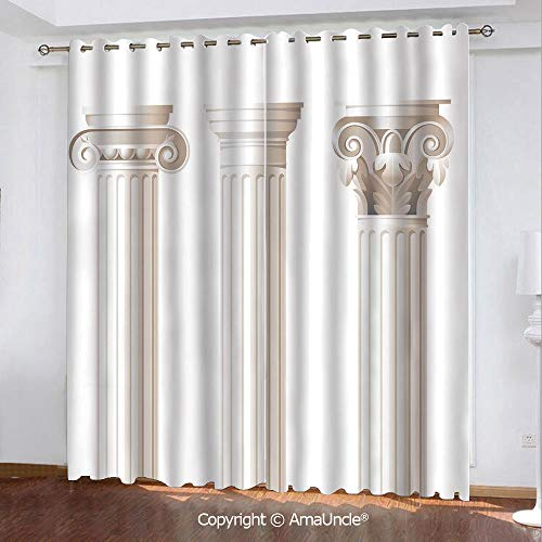 (PUTIEN 3D Printed Blackout Curtains,Pillar Decor,Architecture Theme Design Ionic Doric and Corinthian Marble Columns Print,Coconut Pattern,W84.3xL84.3 Inches,Window Treatments for Bedroom)