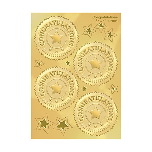 Congratulations (Gold) Award Seals Stickers - 4 stickers per sheet, 8 sheets
