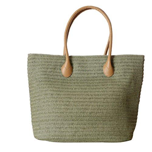 Handbag Casual Beach Straw Green YOUJIA Flower Handbags Shoulder Women 2 Tote Woven Army qwzqSxFUX