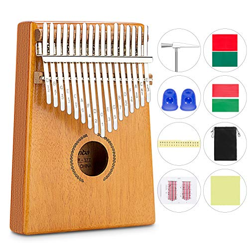 Kalimba 17 Keys,Thumb Piano with Tune Hammer Music Book Finger Piano Toys Gifts for Kids Adult Beginners - Music Hammer
