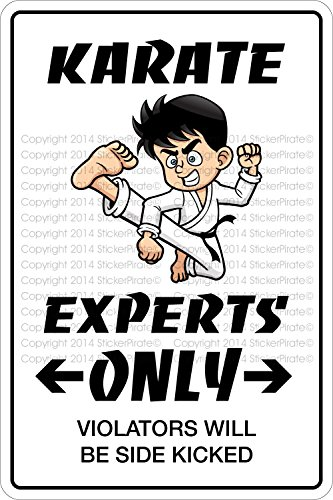 "Karate Experts Only 8"" x 12"" Metal Ornament Sign Aluminum NS 375"