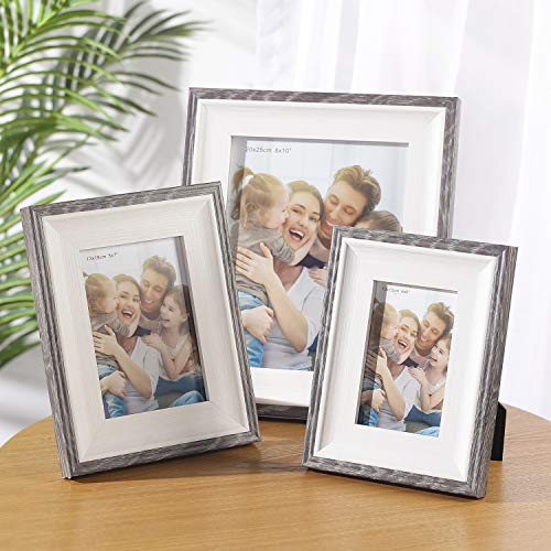 Wood Photo Frames, SasaAccueil Vintage Wooden Rustic Picture Frame Set with High Definition Glass for Wall Mount Table Top Display Unique Durable 3 Pack (Gray Border, 4x6\'\')