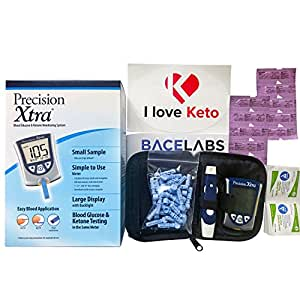 Precision Xtra Blood Ketone Testing Kit-Precision Xtra Ketone Meter +10 Precision Xtra Ketone Test Strips(No Glucose Strips)+One Month Supply of Abbott Lancets and Alcohol Wipes+I Love Keto Sticker