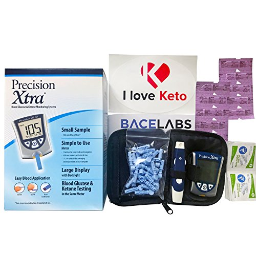 Precision Xtra Blood Glucose and Ketone Monitoring Meter Kit Bundle+10 Precision Xtra Ketone Test Strips+One Month Abbott Freestyle 28 Gauge Lancets+dynarex Alcohol Wipes+I Love Keto Sticker