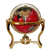Unique Art 220-GT-RED-GOLD 13-Inch Tall Table Top Red Ocean Gemstone World Globe with Gold Tripod Stand