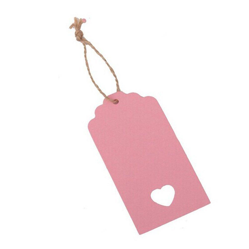 VORCOOL 100pz Regalo Tag carta kraft Hang Tag lavorati Tag rosa prezzo con 10/m corda di iuta