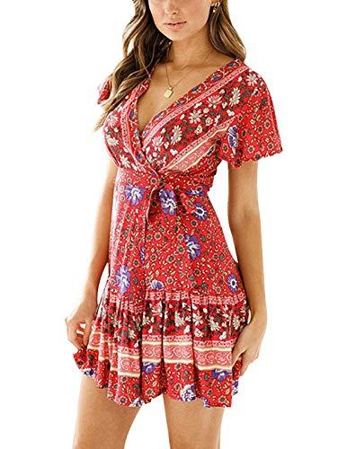 TEMOFON Women's Dresses Summer Bohemian Vintage Floral Printed Ruffle Hem Short Sleeve V-Neck Mini Dress Red M