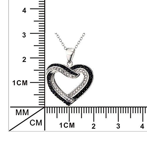Deux tons Argent sterling 925Amour infini Pendentif en forme de cœur avec CZ Collier pour femme, 45,7cm Chaîne rolo