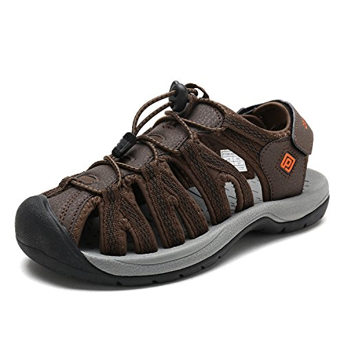 DREAM PAIRS Women's 160912-W-NEW Brown BLK Orange Adventurous Summer Outdoor Sandals Size 11 M US (Hiking Shoes Wide Width)