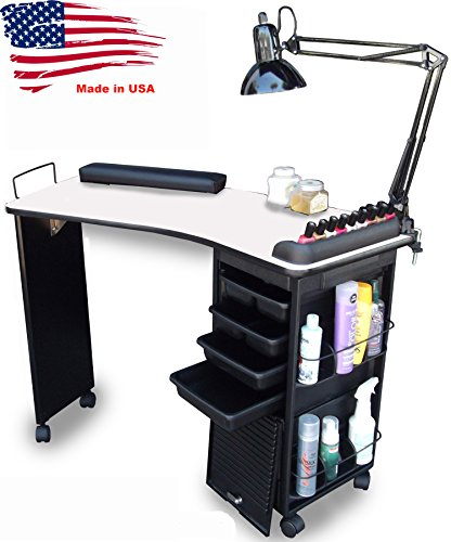 M600 Manicure Nail Table Lockable, White Top Made in USA by Dina Meri by Dina Meri