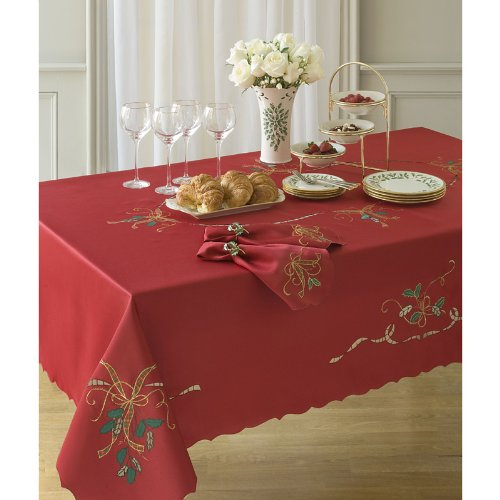 amazoncom lenox holiday nouveau tablecloth 60 by 120 inch oblongrectangle ivory kitchen dining