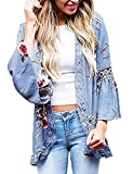 Womens Floral Loose Bell Sleeve Kimono Cardigan Lace Patchwork Cover up Blouse Top (XL, Blue)