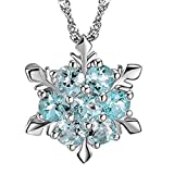 M-Egal Women's Natural Stone Necklace Crystal Silver Plating Snowflake Style Pendant light blue 2cm(pendant), 45cm+5cm(chain)