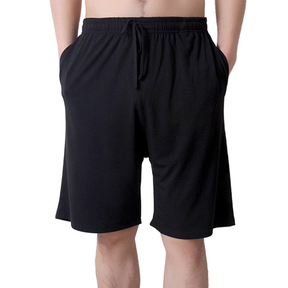 ENJOYNIGHT Men's Sleep Shorts Loose Lounge Shorts Pajama Bottom Pants (Medium, Black)