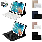iPad Keyboard Case for New ipad 2018(6th Gen, 9.7'')/2017 (5 th Gen)/iPad Pro 9.7/iPad Air 2/iPad Air Wireless Bluetooth Keyboard Removable Magnetic Cover with Pencil Holder (Rose Gold)