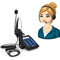 Corded Phone with Headset,Valoin Hands-free Corded Telephone with Noise Cancellation Headphone& Compact Dialpad for Call Center House and Office Business (Blue-B)