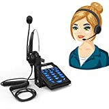 Corded Telephone with Headset,Valoin Hands-free Corded Phone Dialpad with Noise Cancellation Headphone for House Call Center and Office (Blue 6)