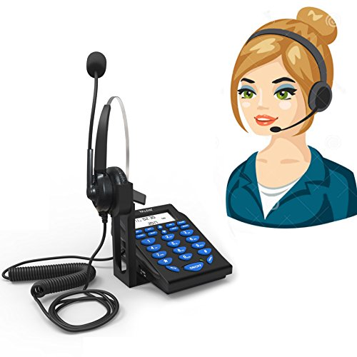Corded Telephone with Headset - Valoin Hands-free Corded Phone Dialpad with Noise Cancellation Headphone for House Call Center and Office (Blue 6)