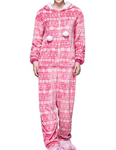 Cozy Pink Pajamas (Miureal Women's Adult Onesie Warm Cozy Plush Zip Front Hooded One Piece Pajamas, Pink, TagsizeL=USsizeM)