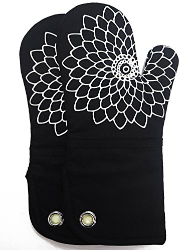 RED LMLDETA Silicone Printing Oven Mitts/Gloves 1 Pair, Heat Resistant to 500 Degree, Non-Slip for Home Kitchen Cooking Barbecue Microwave for Women/Men Machine Washable BBQ (Black)